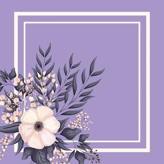 Rama z malowaniem białych pąków kwiatowych i liści