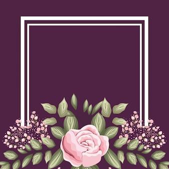 Rama z malowaniem różowych pąków kwiatowych róży i liści