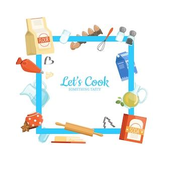 Rama z miejscem na tekst i składniki do gotowania lub artykuły spożywcze dookoła