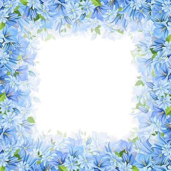 Rama z niebieskimi kwiatami. ilustracja.
