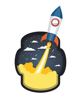 Rama z rakietą startuje w chmurach