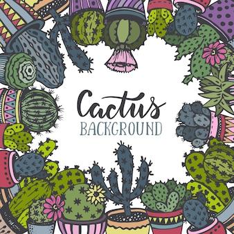 Rama z ręcznie rysowane kaktus w stylu szkicu.
