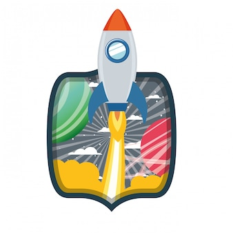 Rama z startującą rakietą i planetami