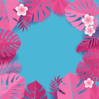 Rama z tropikalnych liści monstera z kwiatami frangipani. kwiatowy kapar cięcia wzór tła