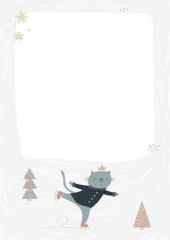 Rama z uroczym kotem na łyżwach.