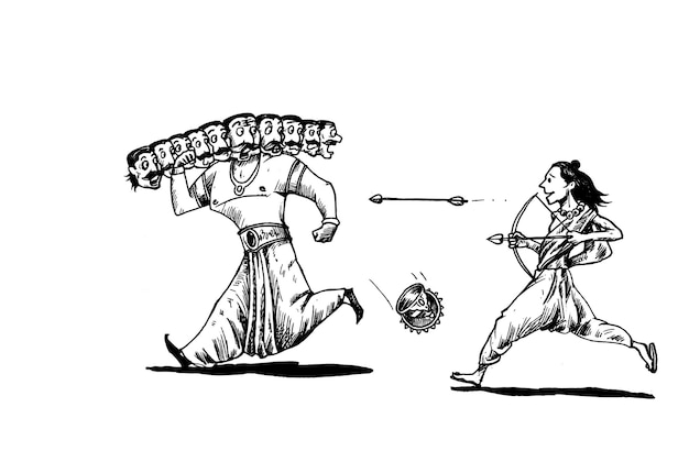 Rama zabija ravanę z dziesięcioma głowami łuku i strzały z tekstem szczęśliwego festiwalu dasera w indiach.