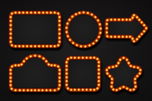 Rama żarówki. makijaż lustro markiza cyrk szyld kino kasyno teatr teatr billboard guzek granicy. ramki świetlne 3d