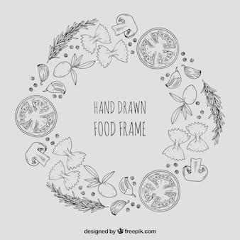Rama zdrowej żywności z ręcznie rysowane stylu