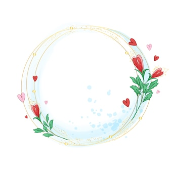 Rama złotych, przecinających się pierścieni ozdobiona stylizowanymi pąkami róż,