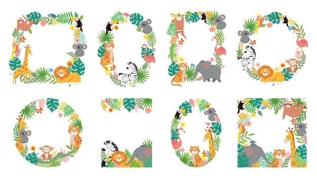 Rama zwierząt kreskówek. zwierzę dżungli w tropikalnych liściach, słodkie ramki z zestawem ilustracji tygrysa, lwa, żyrafy i słonia.