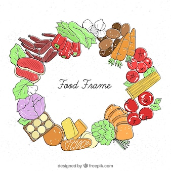 Rama żywności z ręcznie rysowane stylu