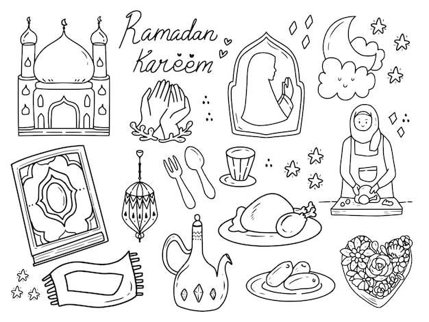 Ramadan doodle islamskiej ilustracji sztuki