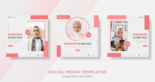 Ramadan hidżabowy baner sprzedaży mody na post szablonu mediów społecznościowych