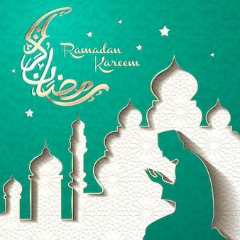 Ramadan ilustracja i arabska kaligrafia z modlącym się muzułmaninem