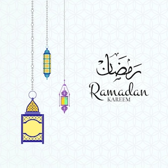 Ramadan ilustracja z latarniami i miejsce na tekst na arabskim tle wzoru.
