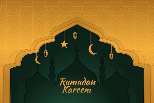 Ramadan islamski tło złoty gradient