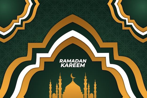Ramadan islamskie tło płaski zielony złoty kolor biały