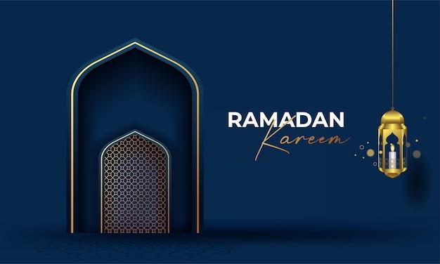 Ramadan kareem arabska kaligrafia baner