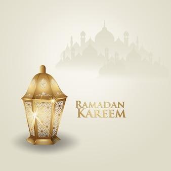 Ramadan kareem arabska kaligrafia i tradycyjna latarnia na kartkę z życzeniami.