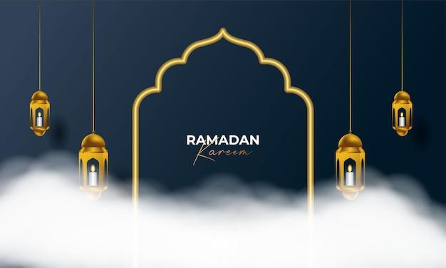Ramadan kareem arabska kaligrafia tło