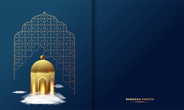 Ramadan kareem arabska kaligrafia z życzeniami