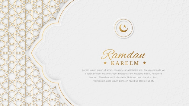 Ramadan kareem arabski elegancki luksusowy ozdobny islamski bnner z islamskim obramowaniem i dekoracyjnym ornamentem