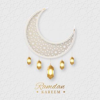 Ramadan kareem arabski islamski elegancki biały i złoty luksusowy ozdobny tło