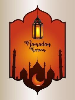 Ramadan kareem arabski islamski festiwal z wzorowaną latarnią i meczetem