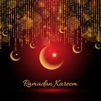 Ramadan kareem backgroud ze zwisającymi półksiężycami