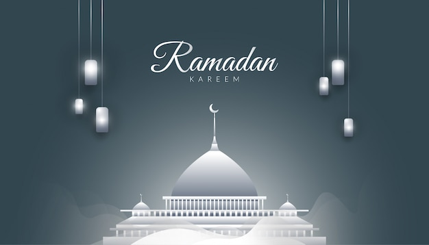 Ramadan kareem background with magnificent mosque, mist and silver lanterns