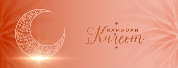 Ramadan kareem banner festiwalu islamskiego z obecnym księżycem