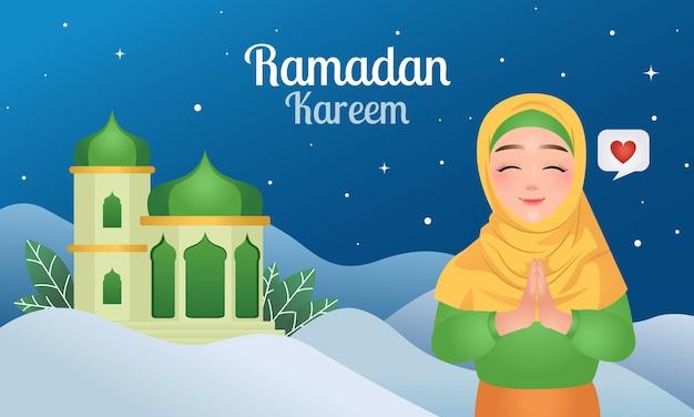 Ramadan kareem banner tła całkiem hidżab uśmiechnięta kobieta w pozę pozdrowienia
