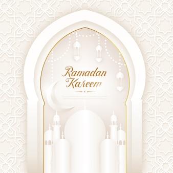 Ramadan kareem biały z meczetem i latarnią