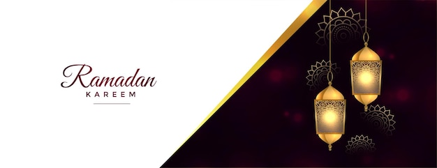 Ramadan kareem błyszczący banner