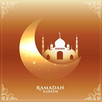 Ramadan kareem błyszczący księżyc i kartka z pozdrowieniami meczetu