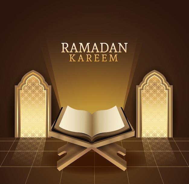 Ramadan kareem celebracja z ilustracją książki koran