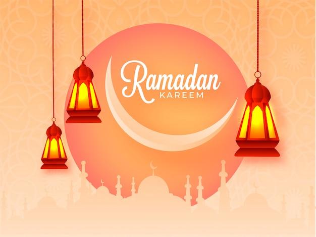 Ramadan kareem celebration tło z półksiężycem, sylwetka meczetu i wiszące podświetlane latarnie na jasnopomarańczowym