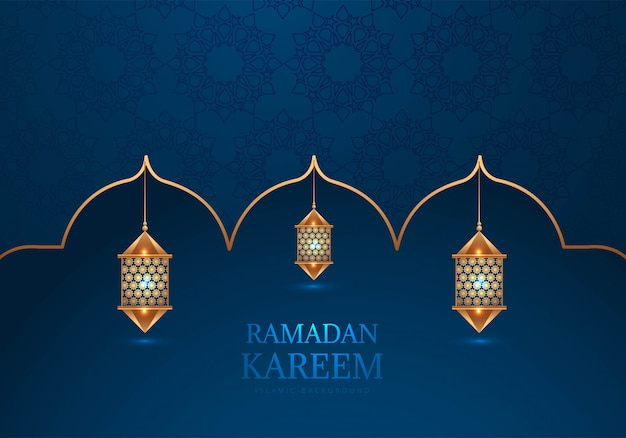 Ramadan kareem dekoracyjne lampy arabski tło
