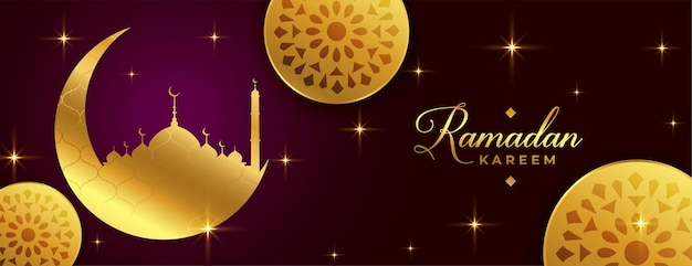 Ramadan kareem dekoracyjny islamski złoty sztandar projekt