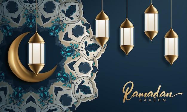 Ramadan kareem dekoracyjny księżyc z wiszącymi lampami