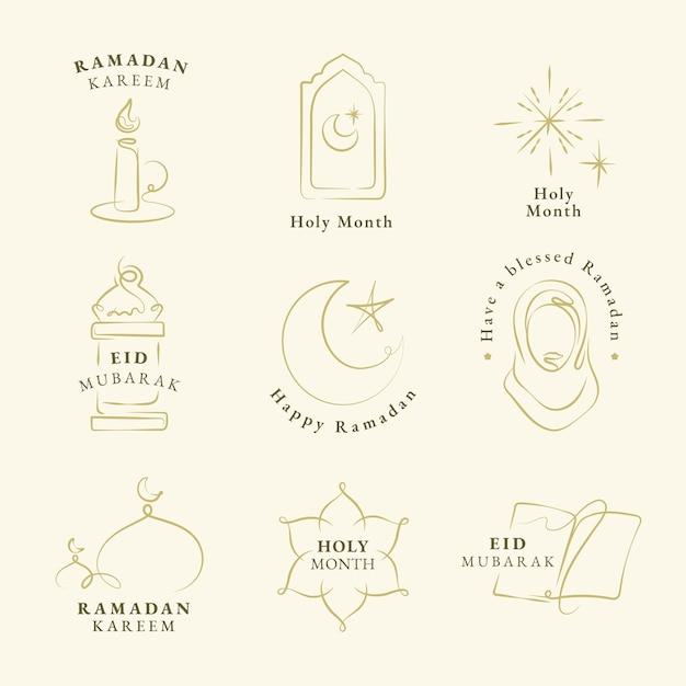 Ramadan kareem doodle logo wektor zestaw