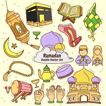 Ramadan kareem doodle zestaw ilustracji wektorowych na tle papieru