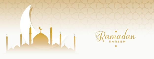 Ramadan kareem eid księżyc i meczet islamski sztandar