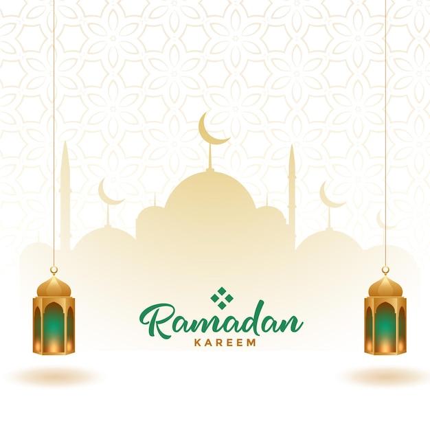 Ramadan kareem elegancki ozdobny projekt karty