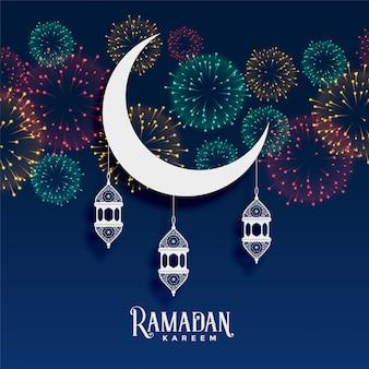 Ramadan kareem fajerwerki tło dekoracji