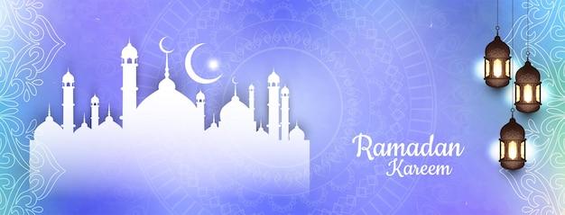 Ramadan kareem festiwal kolorowy islamski sztandar