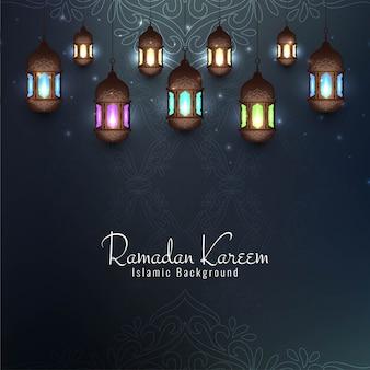Ramadan kareem festiwalowa karta dekoracyjna z latarniami