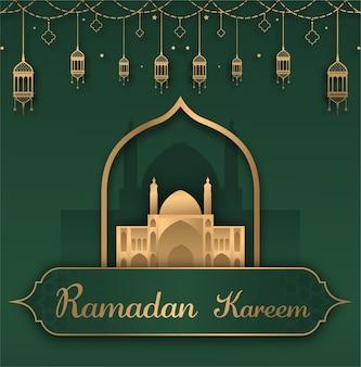 Ramadan kareem flat design z wiszącymi latarniami