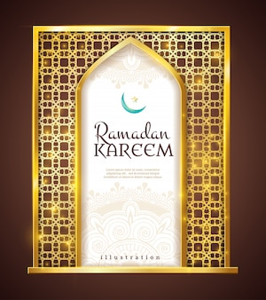 Ramadan kareem golden frame tradycyjny ornament