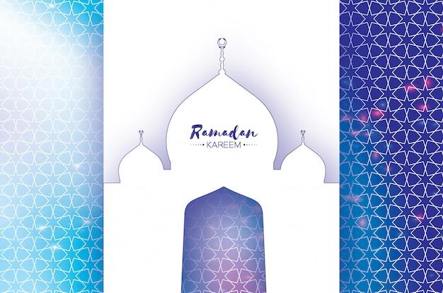 Ramadan kareem greeting card. meczet wycięty z papieru